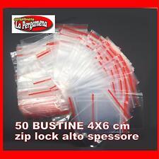 50 Buste Bustine Plastica Confezioni Chiusura ZIP LOCK 4X6 alto spessore