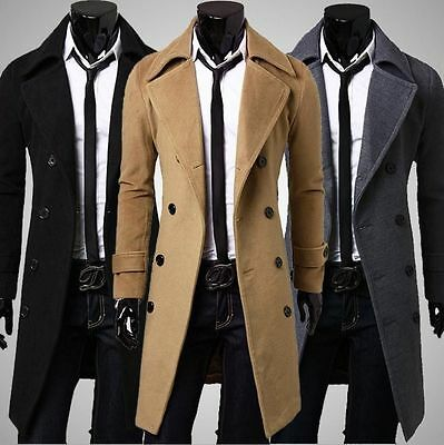 Winter Mens Slim Stylish Trench Coat Double Breasted Long Jacket Woolen Overcoat