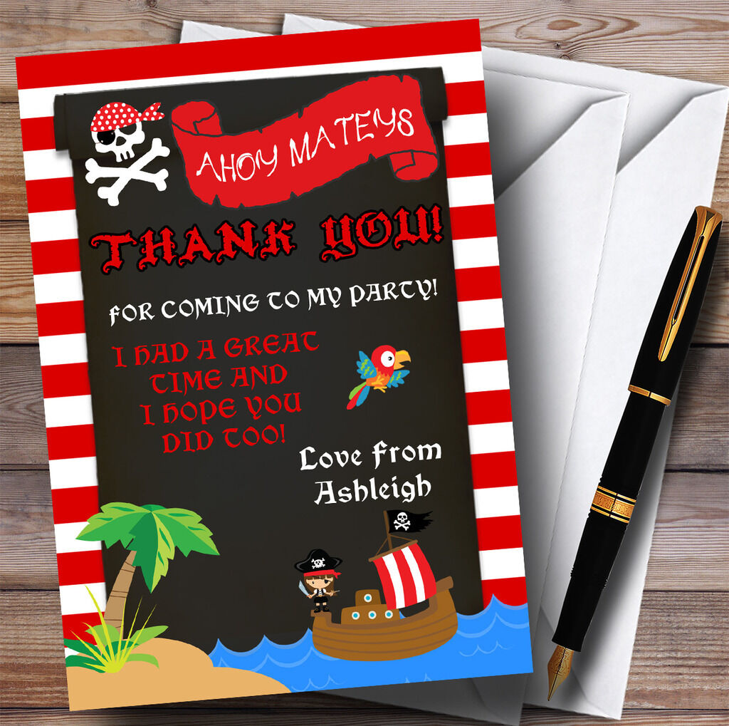 Stripy Red Girls Pirate Party Thank You Cards