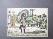 Antique Christmas Card Little Girl With Parasol Promenading Boys on Bench Chromo