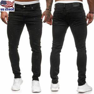 Men-039-s-Skinny-Jeans-Motorcycle-Jeans-Skinny-Stretch-Pants-Casual-Slim-Fit-Pants