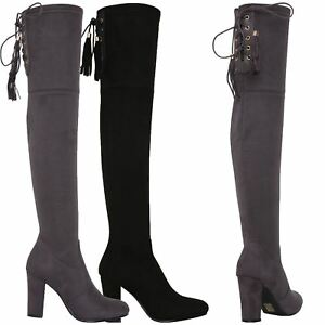 Womens-Over-Knee-High-Boots-Ladies-Low-Block-Heel-Riding-Stretch-Winter-Shoes