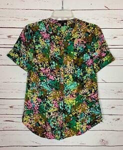 J.Crew Women's 4 Black Green Silk Floral Short Sleeve Button Spring Top Blouse