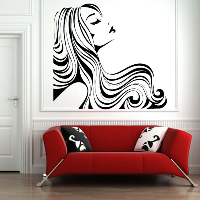 Vinyl Sticker Girl Woman Hair Beauty Salon Big Mural Decal Wall Art Decor hi289