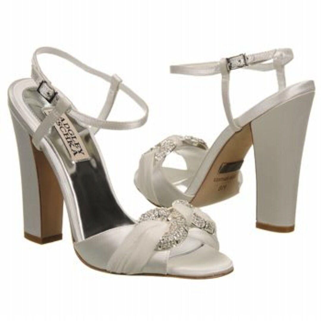 NIB Badgley Mischka JEWELED  sandali di raso aperto scarpe pompa di punta bianco 10  ultimi stili