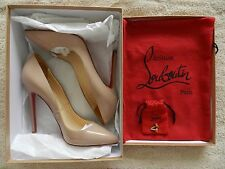 EXCELLENT CHRISTIAN LOUBOUTIN PIGALLE 120 PATENT CALF NUDE 38 WITH BOX & RECEIPT