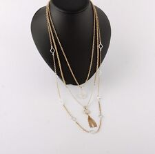 LUCKY BRAND Two-Tone Multi-Layer Pearl/Tassel Pendant Necklace NEW