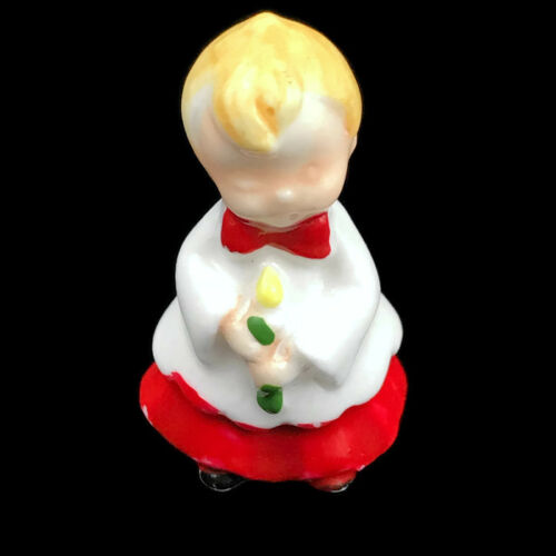 "Choir Boy Figurine Miniature Porcelain Christmas Red Holding Candle 1 14"" H"