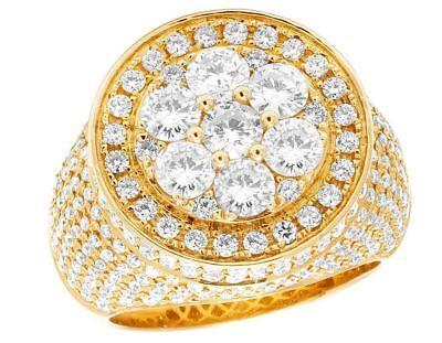 Men's 14K Yellow Gold Genuine Diamond Round 3D Cluster Pinky Ring 6 1/2 CT 20MM