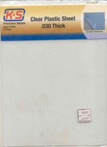 "Clear Plastic Sheet .030/"" thick plastic for dollhouse windows K/&S #1310 2pcs"