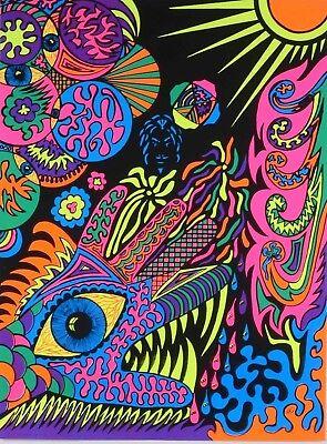 Vintage Blacklight Poster Psychedelic Monster Hand Eye ...