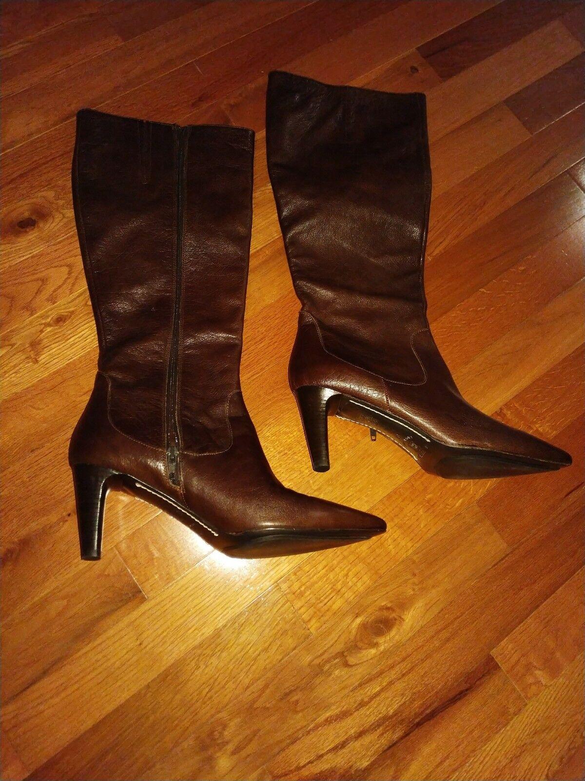 NEW VIA Spiga V-Wine Leather knee high heels brown boot pointy 10 41 cognac