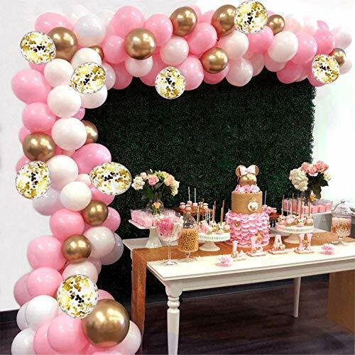 Ballon Girlande Ballonbogen Kit,16 ft 115 Stück rosa Weiß und Gold Luftballons