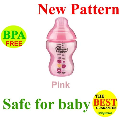 Tommee Tippee Closer to Nature Pink Blue Green Decorated Bottle TEAT Brush