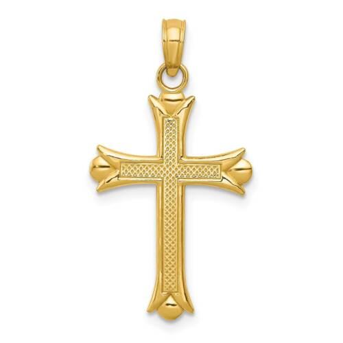 14k Yellow Gold Fleur De Lis Cross Polished Charm Pendant 29.4mmx15.3mm