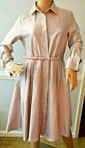 1690-Max-Mara-Fiorire-Silk-Belted-Pink-Long-Sleeve-Shirt-Dress-US-6-8-IT-42