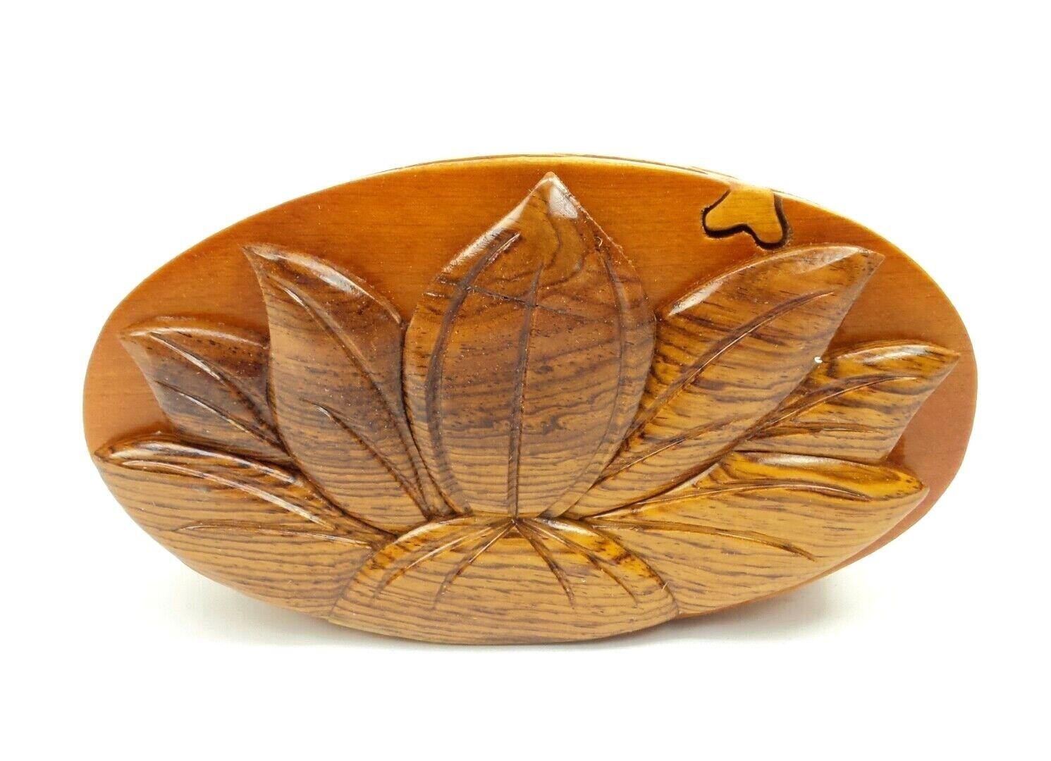 Lotus Flower Wood Puzzle Box Handmade Keepsake Jewelry Trinket Decorative Box