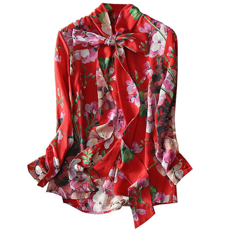 Camisa Top Floral Seda occidental para  Mujer Moda Delgado Mangas Largas azulsa Talla Bowtie  minorista de fitness