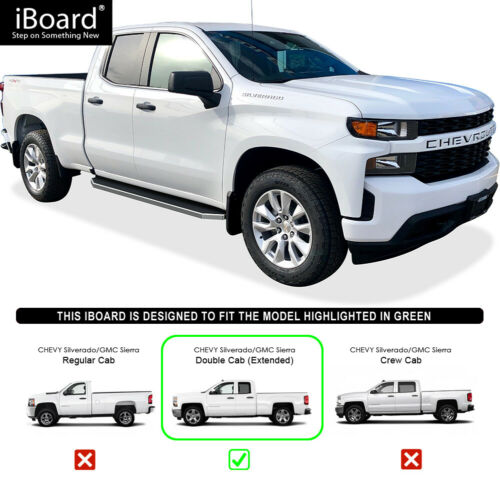 iBoard Polished Running Boards Style Fit 19-20 Silverado//Sierra Double Cab
