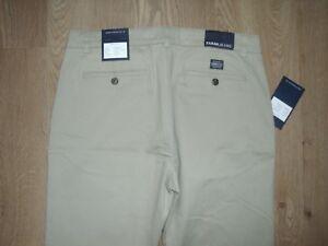 Farah-Pantaloni-Chino-Kaki-Pantaloni-Jeans-Cotone-Beige-in-Velluto-Gamba-Dritta-W32-L32-NUOVO
