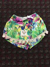 Angel Biba Green Purple Floral Crochet Summer Trim Dress Shorts Size 8 NWT $128