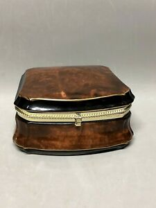 Fancy Ceramic Square Hinged Trinket Box Brown Marbled Black Band Gold Trim