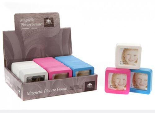 en caoutchouc bords arrondis Choisissez 1 ou 3 Rose Bleu ou Blanc Magnétique Mini cadre photo