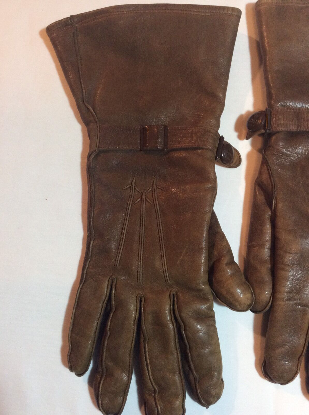 Vintage Hansen Ladies Leather Gauntlet Gloves - image 3