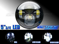 "5-3/4"" Motorcycle Black Projector Daymaker DRL LED Light Bulb Headlight 4 Harley"
