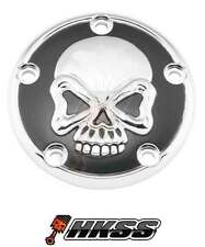 Chrome Black Timing 5-Hole Point Cover for 99-15 Harley Big Twin - Skull Face G