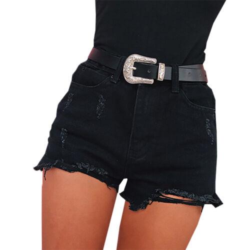 Donna Jeans a Vita Alta Strappati Destroyed Shorts Casual Estivo Pantaloncini