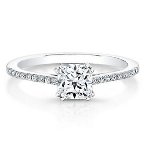 0.69 Ct Cushion Solitaire Moissanite Engagement Ring 14K Solid White Gold Size 5