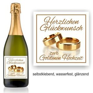 Details Zu Aufkleber Sektflasche Weinflasche Herzlichen Glückwunsch Zur Goldenen Hochzeit