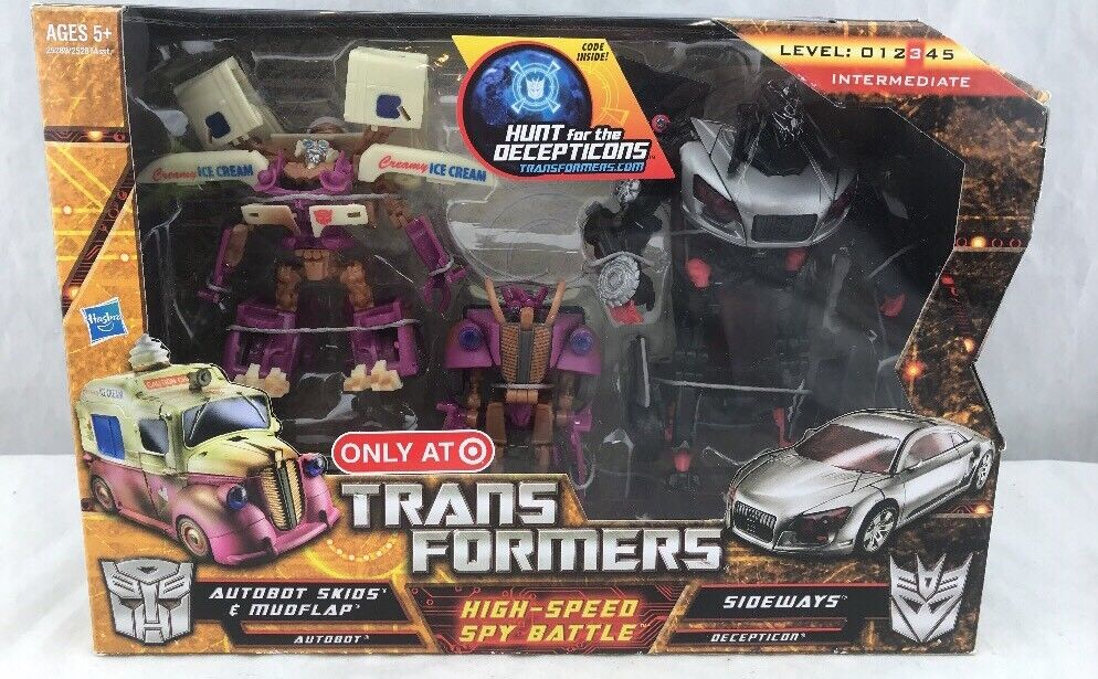 Transformers HFTD High-Speed Spy Battle Skids Mudflap And Sideways MISB