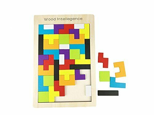 AlleTechPlus Wooden Tetris Puzzle 40 Pcs Brain Teasers Toy for Kids, Wood Puzzle