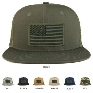 Black Olive American Flag Iron on Patch Flat Bill Ripstop Trucker ... a1f585d7d3e5