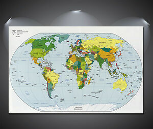World Map Giant Poster A A A A A Sizes EBay - A1 world map poster