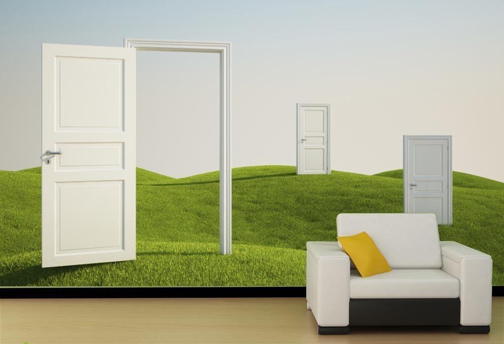 3D Weiße Tür Grünen Abhangs 84 Tapete Wandgemälde Tapete Tapeten Bild Familie DE   Elegantes Aussehen    Fein Verarbeitet    Neues Produkt