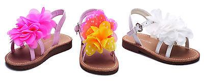 Nuevo Chicas Infantil charlatán Verano Playa Plana Con Volantes Flor Sandalias Zapatos De Fiesta