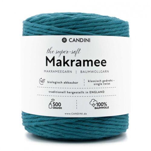 Macramé Garn turquesa 0,5kg aprox 100m 4mm Super Soft algodón-chapucillas cuerda
