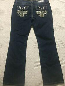 Rue-21-Premiere-Jeans-11-12-Short-dark-wash-embellished-faded-Slim-Boot-cut