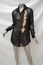 HUGO BOSS Orange Label Black Cotton Silk Pinstripe Ruffle Shirt Fits Sz 8
