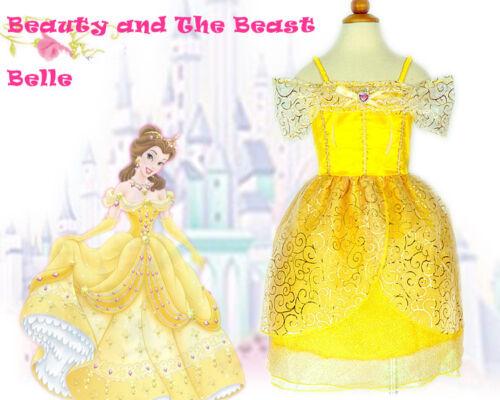 Le ragazze LA BELLA E LA BESTIA Principessa BELLE COSTUME party dress 3-7Yrs