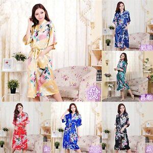 grande vente f2faa 63b28 Détails sur Robe Kimono Mode Paon Long Femme Demoiselle D'Honneur Mariage  Satin Soirée