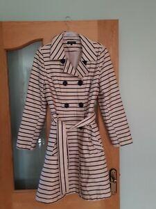 DEBENHAMS-Collection-Belted-Striped-Cream-Blue-Mac-Coat-Jacket-UK-Size-14
