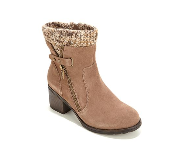 PureSole™ Dory, Water-Resistant Suede Ankle Boot with Knit Trim, Whiskey 8M