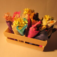 Shop Flower Display in Wooden Crate ~ Doll House Miniature ~ 1/12th scale