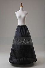 Black A Line 3 Hoop Wedding Dress Bridal Crinoline Petticoat Skirt Slip US Stock