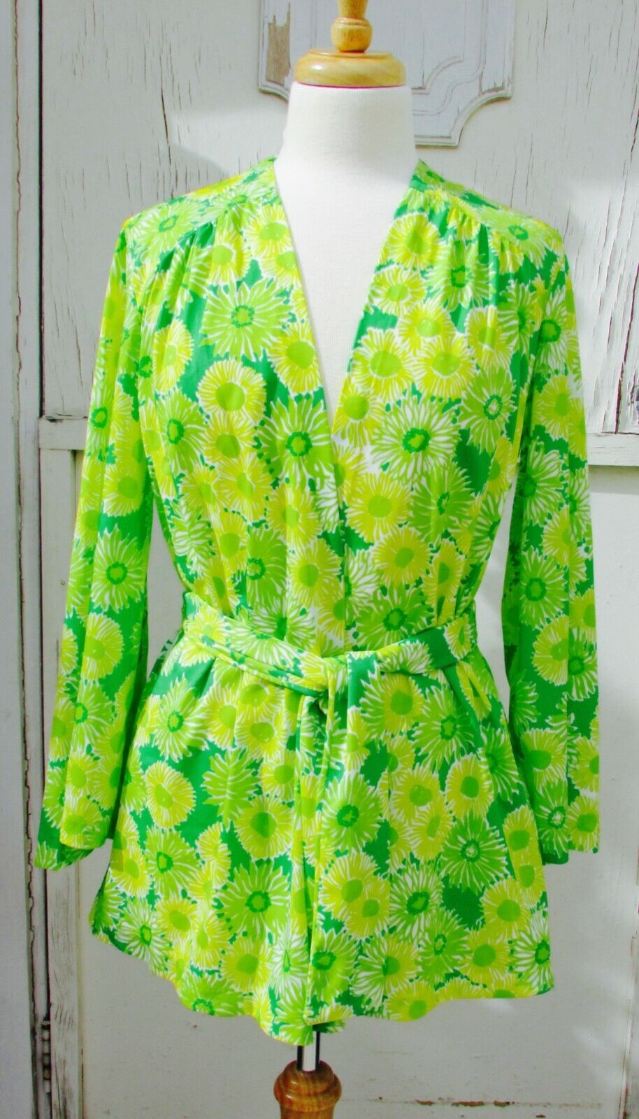 GREEN NEON VTG 70's Swimwear Cover Up-Perfection … - image 1
