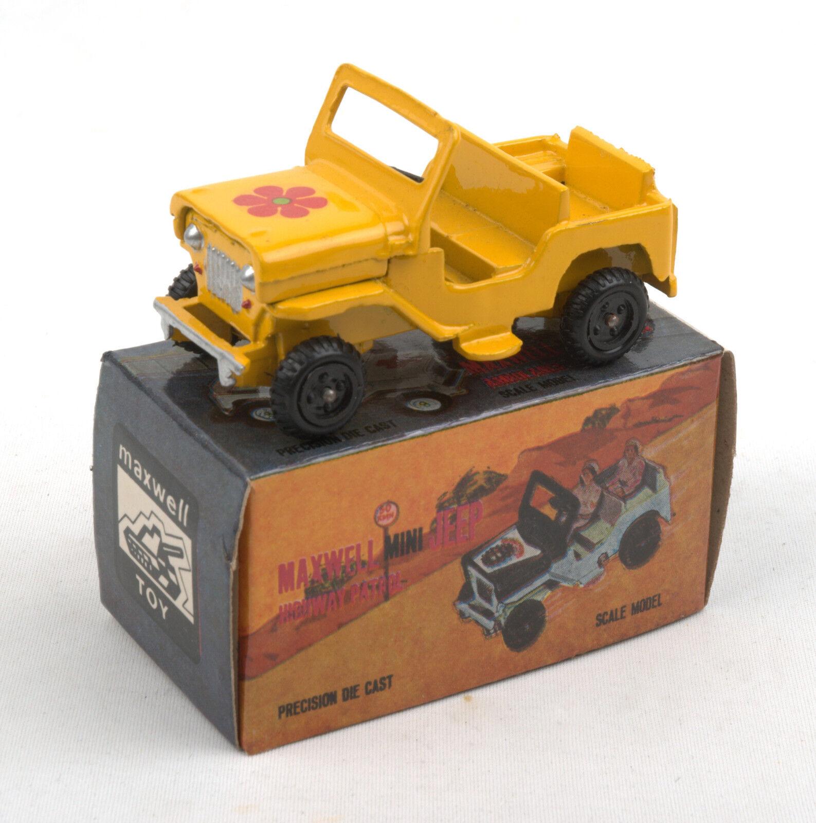 Maxwell Toys (India) No.550 Maxwell Mini Yellow Jeep 1970s  MIB